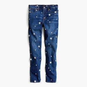 Straight jeans with star print.